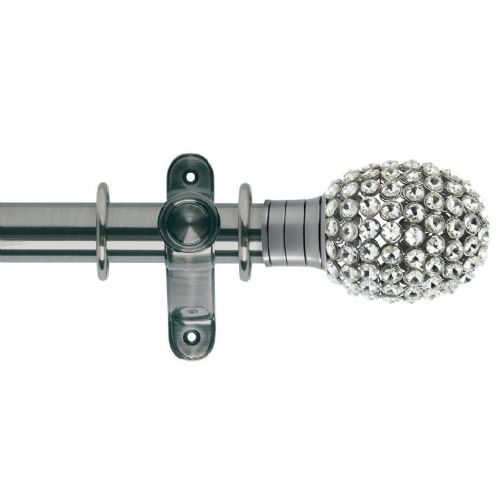 Galleria Clear Jewelled Bulb 35mm Metal Curtain Pole - Brushed Silver